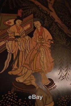 Rare Chinois Coromandel Laque Pliant Écran Bois