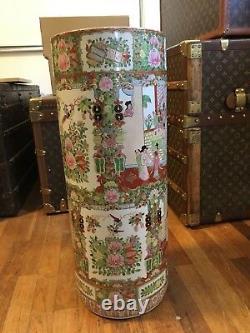 Rare Grand Antique Chinois Parapluie Stand Famille Rose Porcelaine Vase Poterie