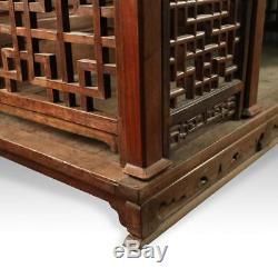 Rare Lit De Mariage Chinois Antique Sculpté En Bois De Rose Miroir Meubles Chine 19ème C
