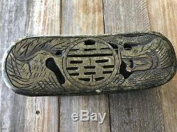 Rare Pipe Antique Chinoise, Lumière O Pium, Plateau, Outils Et Oreiller Jade