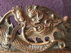 Remarquable Plateau Chinois Antique En Bois Dragon Sculpté Signé 24 Par 15