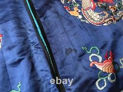 Robe Antique De Dragon Chinois Brodée À La Main En Soie Bleue Impériale Kesi Kossu