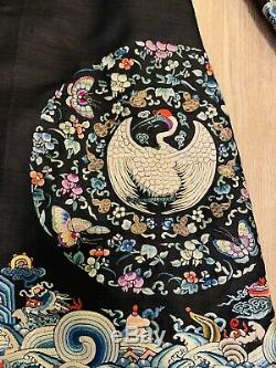Robe Avec Grue Badges Classement Rond Élégant Antique Dynastie Qing Soie Chinoise