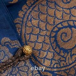 Robe Chifu Bleue Impériale Chinoise Du Xixe Siècle 9 Dragons