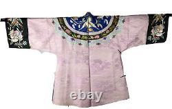 Robe En Soie Brodée À La Main Antique Vintage Cour Impériale Rose