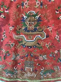 Robe En Soie Rouge Brodée De L'enfant Chinois Antique Rare