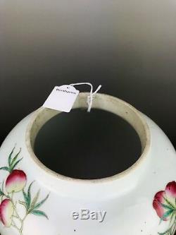 Rose Pot Antique Famille En Porcelaine De Chine Aux Pêches Et Rochers 19ème Siècle