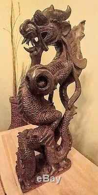 Sculpté À La Main En Bois Chinois Dragon Vintage 16 Haute Collection De Collection À La Maison Déco