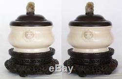 Signé Chinois Dehua Porcelaine Encensoir Vers 1640 Jade Top Zitan Cover & Support