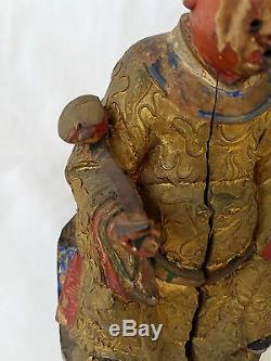 Statue Antique De Chine En Bois Sculpté Et Ciselé Polychrome Polychrome 18ème