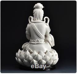 Statue De Bouddha Lianhua Kwan-yin Guanyin En Porcelaine Blanche De Chine