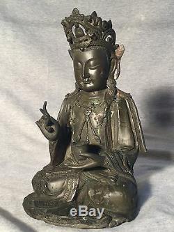 Statue En Bronze De Bouddha Chinois