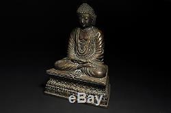 Statue En Bronze De Bouddha Chinois Ancien / Marque Sur Le Fond / L 15 × P 9,5 × H 20,5 CM