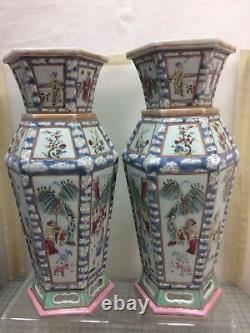 Super Rare! Une Paire De 19ème C. Vase Hexagonal Chinois De Famille-rose