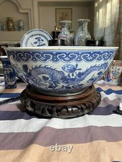 Superbe 14 Grand Antique Chinois Daoguang Blue Et White Bowl