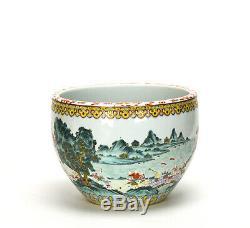 Superbe 19 C. Chinois Qing Famille Rose Enfants En Porcelaine Parade Fish Bowl