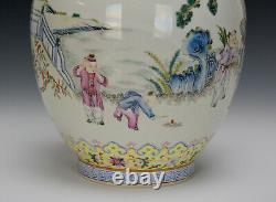 Superbe 19ème C. Chinois Qing Daoguang Famille Rose Boys Jouant Vase En Porcelaine