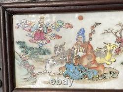 Superbe Antique Chinoise Famille Rose Plaques Incrustées Écran Xianfeng Era