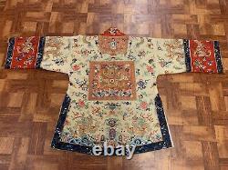Superbe Antique Dynastie Qing En Soie Chinoise Et Tissu Dragon Rang Badge Robe