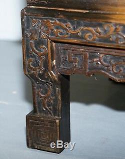 Superbe Armoire Chinoise Antique Fortement Sculptée Avec Une Réception Ouverte