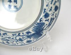Superbe Assiette En Porcelaine Phoenix Chinoise Bleue Et Blanche