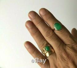 Superbe Bague Antique En Or Massif Avec Jadeite / Jade En Or Massif 18 Kt Chinois Début 20c 3.3g