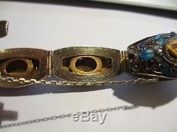 Superbe Bracelet À Maillons En Tigre Avec Émail En Argent Sterling À L'ancienne
