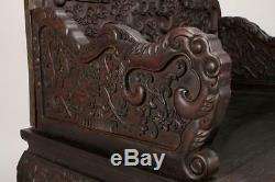 Superbe Chaire Chinoise En Bois De Zitan, Dragons, Lotus, Vrilles, 43 Pouces