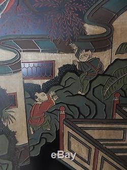 Superbe Diviseur Chinois Peint Et Sculpté À La Main 84 Pouces