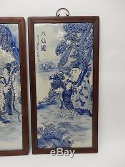 Superbe Ensemble De 4 Grandes Plaques D'immortels Chinoises En Porcelaine Bleue Et Blanche 34