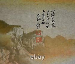 Superbe Grand Paysage Chinois D'aquarelle Accrochant La Peinture De Défilement Zhang Daqian