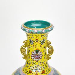 Superbe Vase Chinois En Porcelaine Émaillée Famille Rose