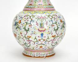 Superbe Vase En Porcelaine Floral Vieux Chinois Glacé Terre Rose