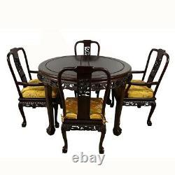 Table À Manger Dragon De Bois De Rose Sculptée Vintage Chinois Avec 8 Chaises Ensemble