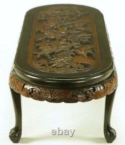 Table Basse Ovale Chinoise Avec La Scène De Bataille Main-découpée Et Six Tabourets