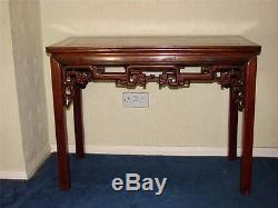 Table D'appoint / Table D'autel En Bois Dur Chinois Avec Frise De Dragon Sculptée