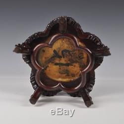 Table Miniature Ou Stand En Bois Et Marbre Chinois Sculpté Du Xxème Siècle