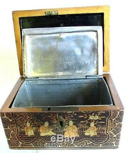 Thé Antique Chinois Caddy Gilding Intérieur En Étain Gravé Original C. 1850