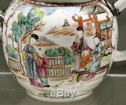 Théière En Porcelaine Chinoise Ancienne À Bec En Argent (18-19ème Siècle)