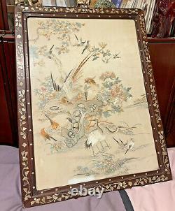 Très Belle Antique Chinoise Brodée De Soie Encadrée Broderie Qing Dynastie