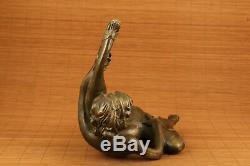 Très Grande Statue De Fille Sculptée À La Main De Cuivre À Collectionner