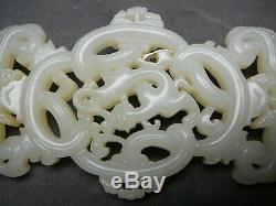Très Importante Extrêmement Rare Jade Blanc Chinois Pendentif 9 Dragon 18 / 19thc