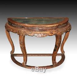Très Rare Chinese Fine Paire Huanghuali Demilune Tables Et Quatre Tabourets Hubei Chine