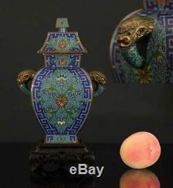 Un Antique Magnificent Chinois Cloisonné Enameled Cabinet Vase 1900
