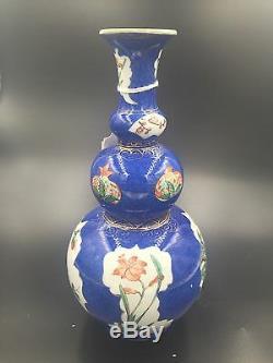 Un Chinois Poudre Bleu Porcelaine Triple Gourd Vase