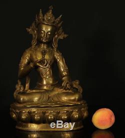 Un Magnifique Énorme Antique Guanyin Tibétain D'origine Chinoise Vajrasattva Bodhisattva 17 Inch