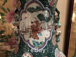 Un Monumental Qing Dynastie Chinoise Famille Rose Porcelaine Figure Vase