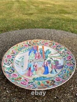 Une Belle Antique Chinoise Rose Médaillon Porcelaine Plaque Scène Figurale