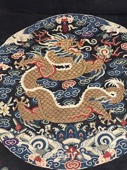 Unreal Antique Chinois De Soie Kesi Kossu Robe Du Dragon Surcoat Imperial Family Qing
