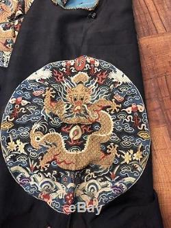 Unreal Antique Soie Chinoise Kesi Kossu Robe Du Dragon Surcoat Famille Impériale Gunfu